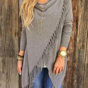 Sweaters - Wrap Around Frayed Poncho Sweater